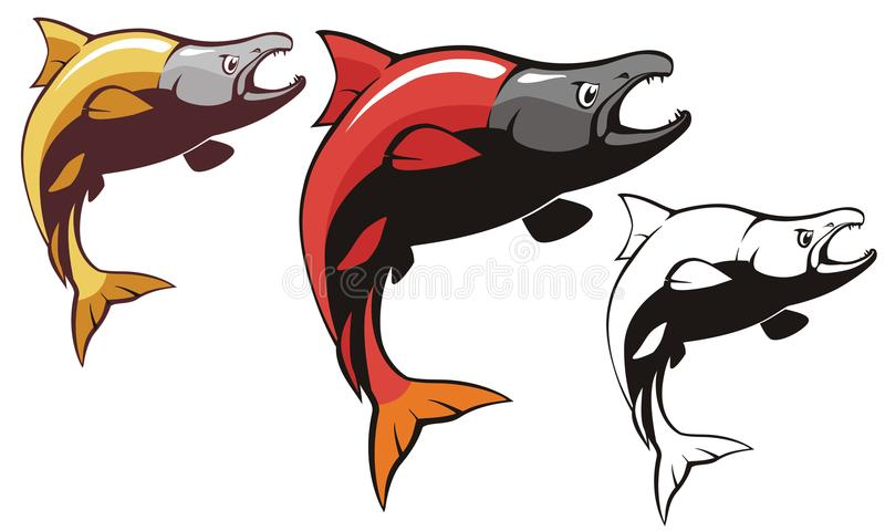Salmon Sockeye Fish Vector stockfotografie