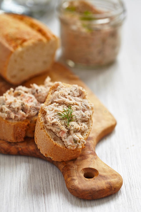 Salmon and soft cheese spread royalty free stock image