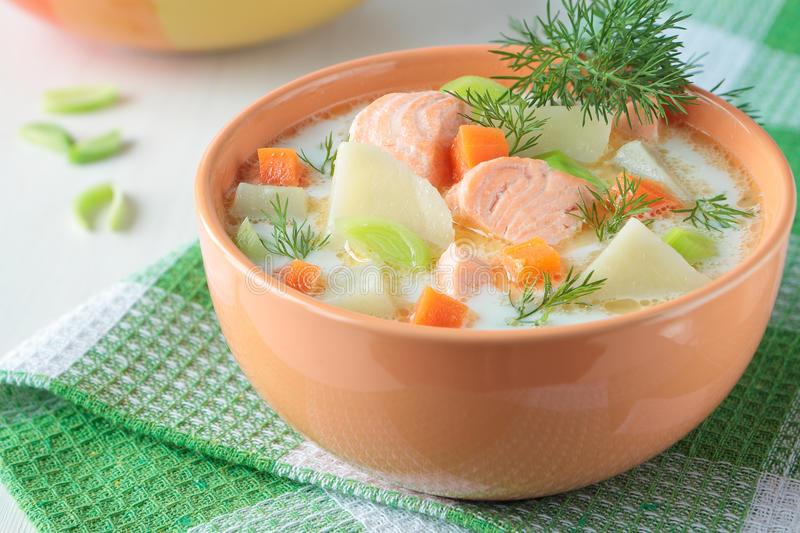 Salmon soup with cream royalty free stock photos