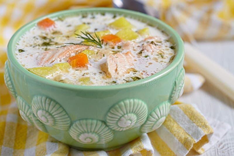 Salmon soup stock photos