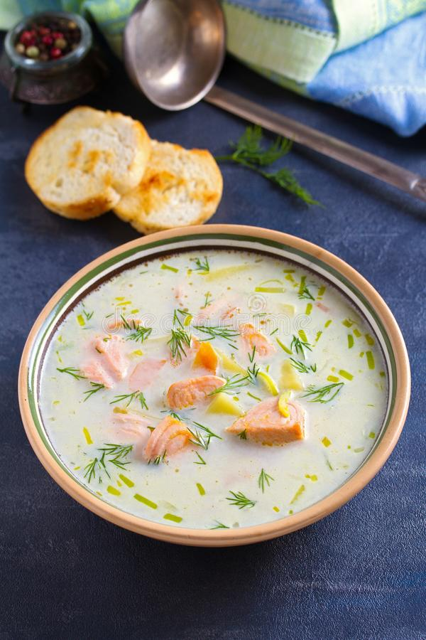 Salmon soup. Creamy hearty salmon fish soup. Clean eating, healthy and diet food concept. royalty free stock images