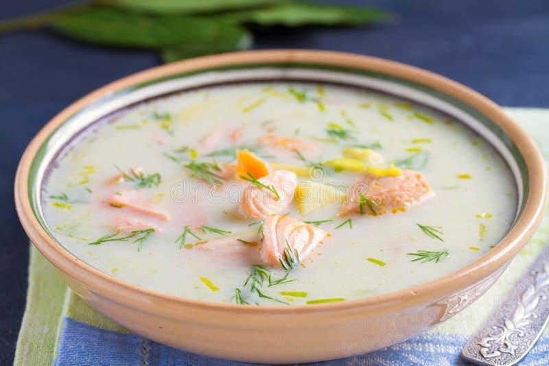 Salmon Soup De romige hartelijke soep van zalmvissen Het schone eten, het concept van het gezonde en dieetvoedsel stock fotografie