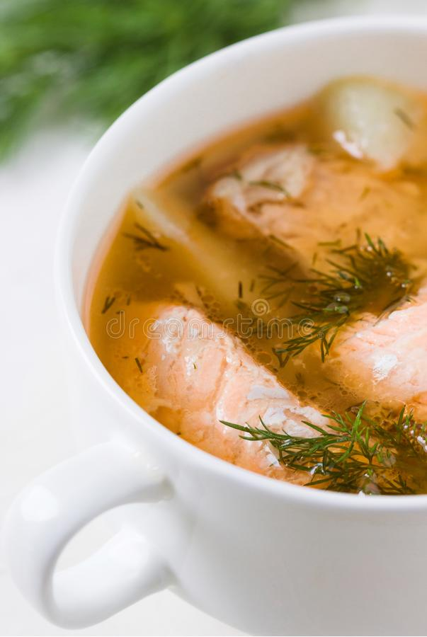 Salmon soup with dill in a saucepan. Fresh Salmon soup with dill in a saucepan. shallow DOF stock photography