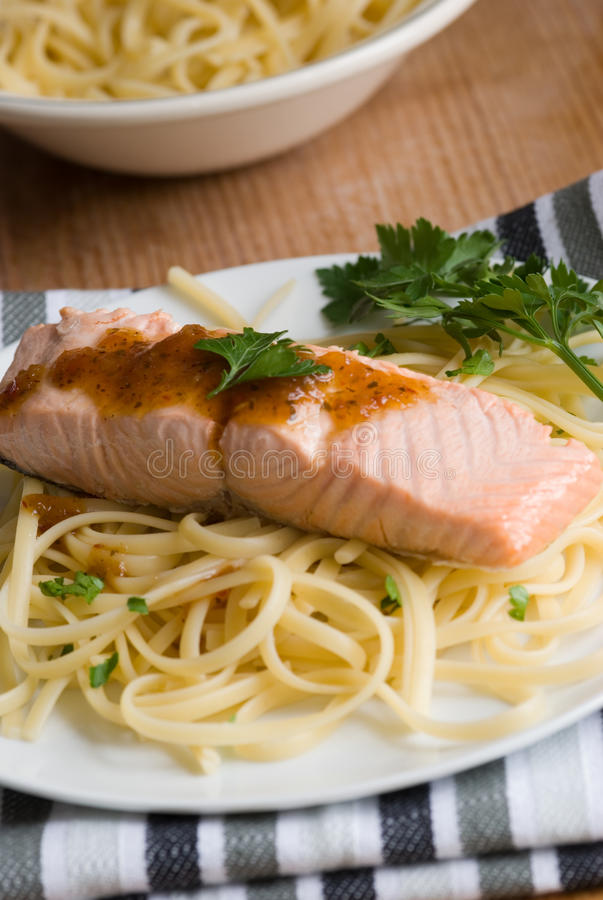 Download Salmon with spaghetti stock image. Image of sauce, meal - 13394487