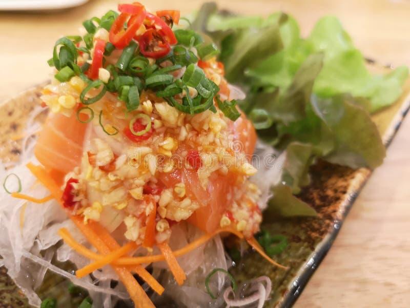 Salmon spicy salad, Thai style stock photo