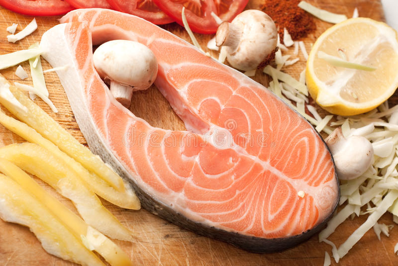 Download Salmon stake stock photo. Image of dinner, protein, eating - 12150032