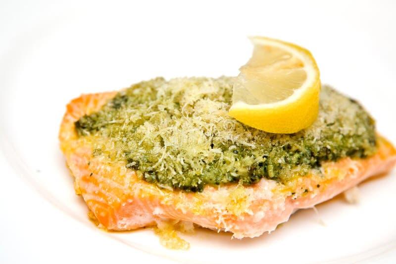 Download Salmon Steak With Basil Pesto Stock Image - Image: 18335029