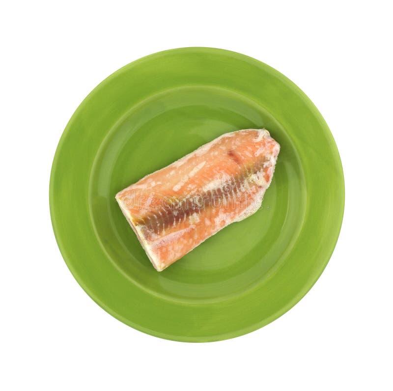 Salmon Steak Green Plate fotografie stock