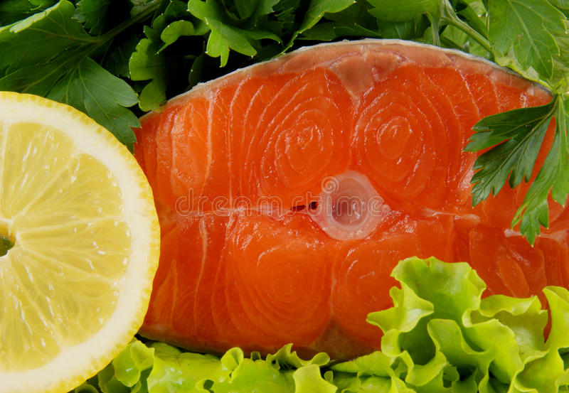 Salmon steak with greens and lemon stock photography