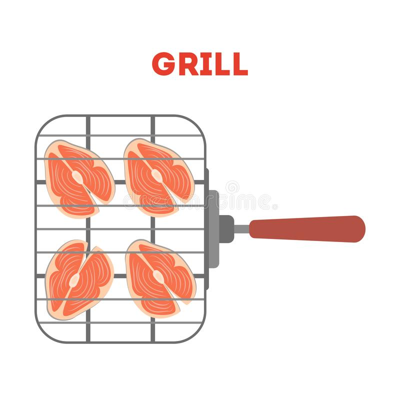 Salmon steak on the grill lattice. Fresh tasty fish. Barbecue. Raw red fillet for BBQ. Isolated flat vector illustration royalty free illustration