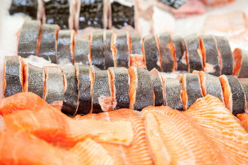 Salmon Steak On Ice. Royalty Free Stock Image