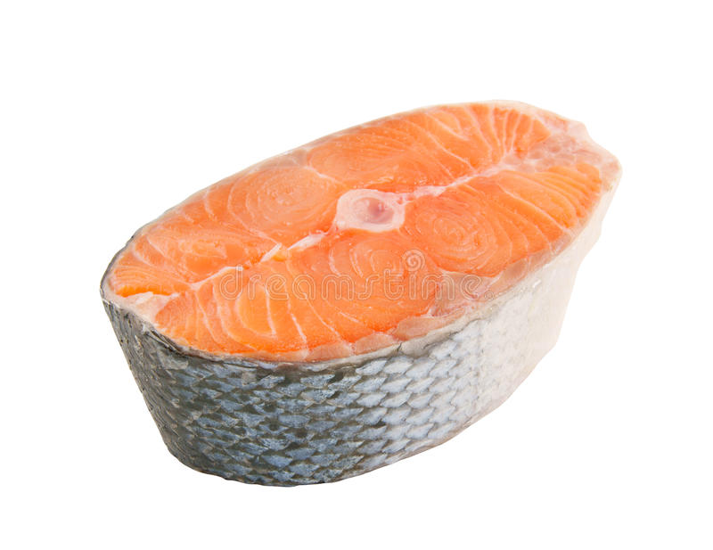 Salmon steak isolated stock photos