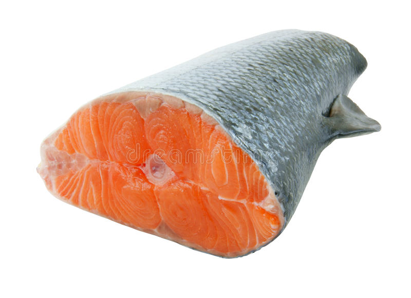 Salmon steak isolated stock photo