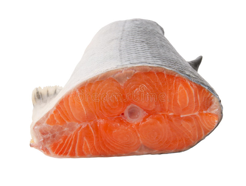 Salmon steak isolated stock images