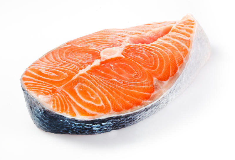 Salmon steak isolated on a white royalty free stock images