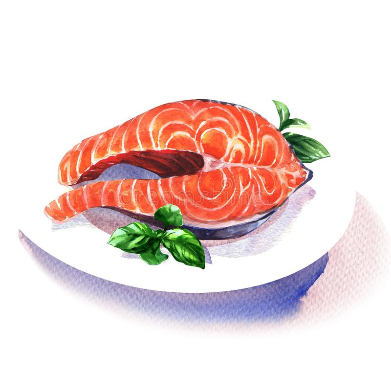 Salmon steak red fish with green basil on white plate, seafood, isolated, hand drawn watercolor illustration on white royalty free stock image