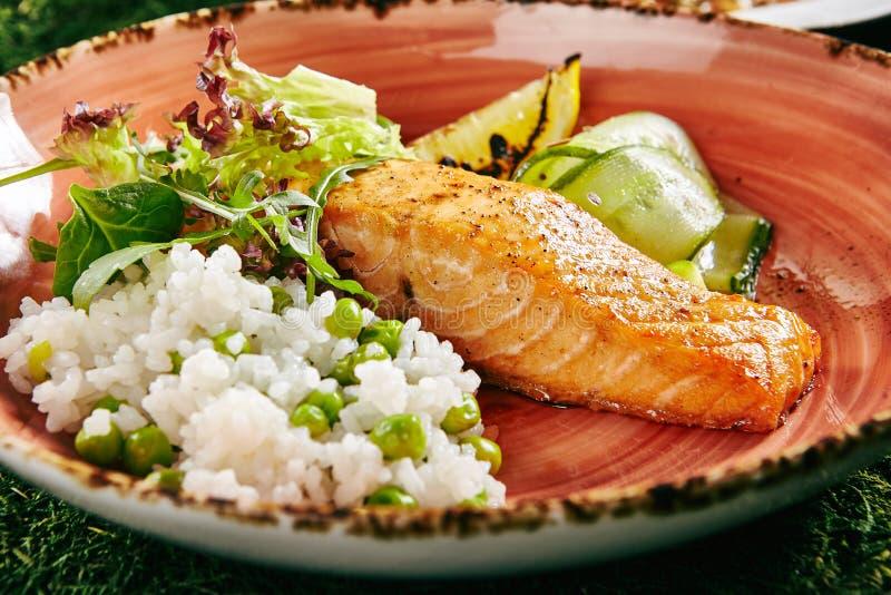 Salmon Steak and Rice stock photos