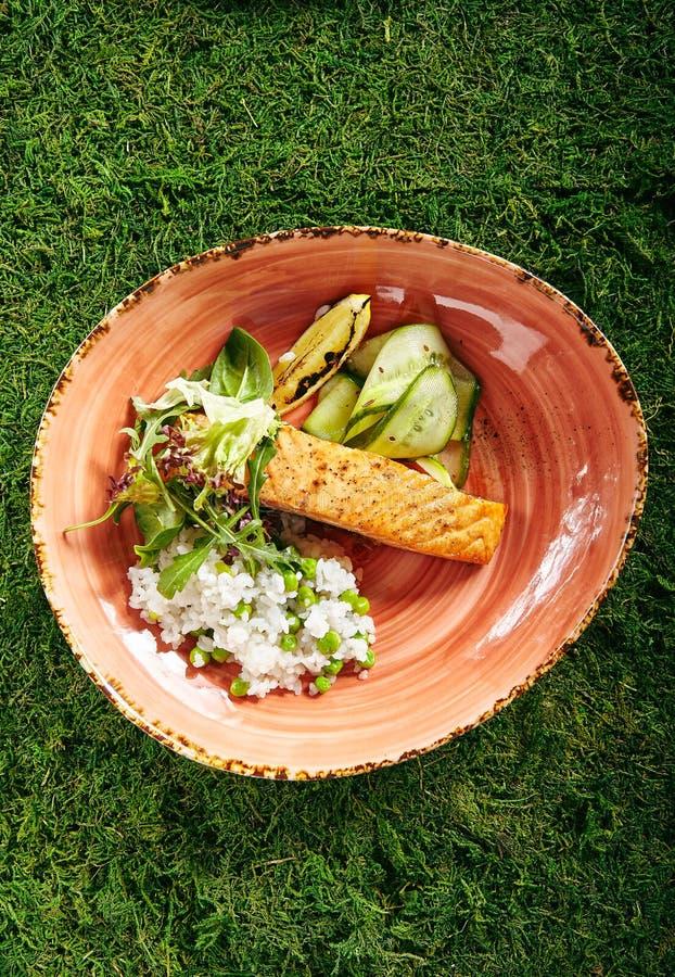 Salmon Steak and Rice stock photo