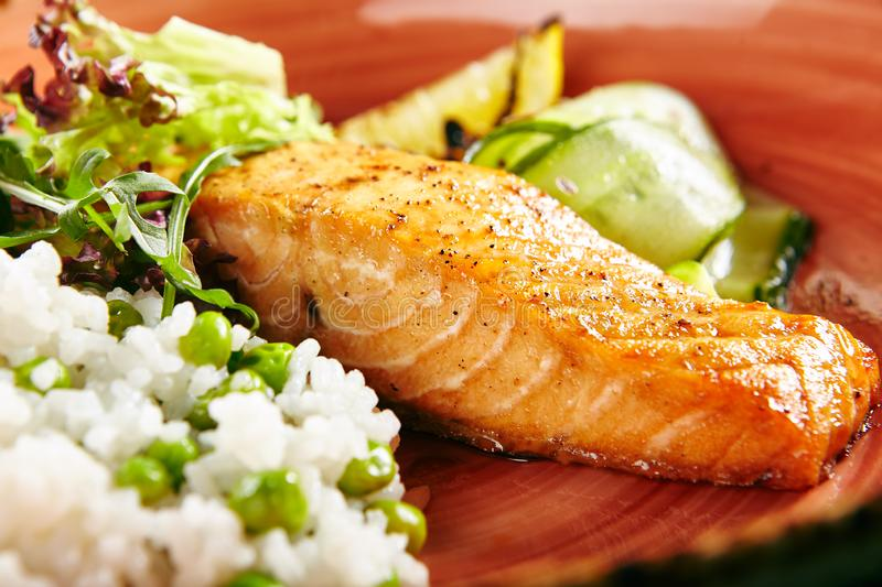 Salmon Steak and Rice royalty free stock images