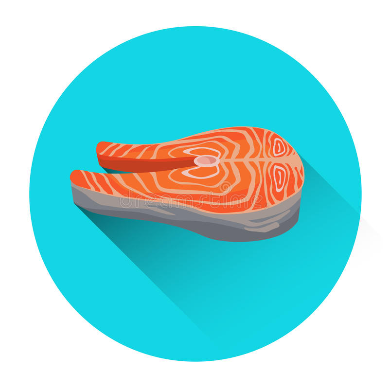 Salmon Steak Seafood Fish Fresh-Voedselpictogram stock illustratie