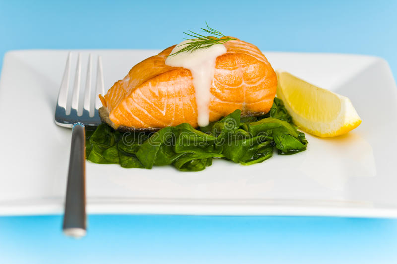Salmon steak on spinach stock photography