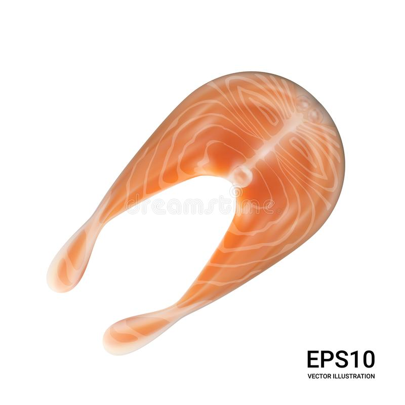 Salmon Steak Vector Illustration crudo stock de ilustración