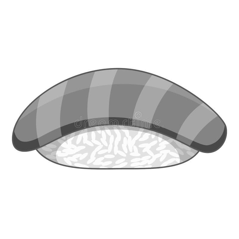 Salmon sushi icon monochrome. Salmon sushi icon in monochrome style isolated on white background vector illustration vector illustration