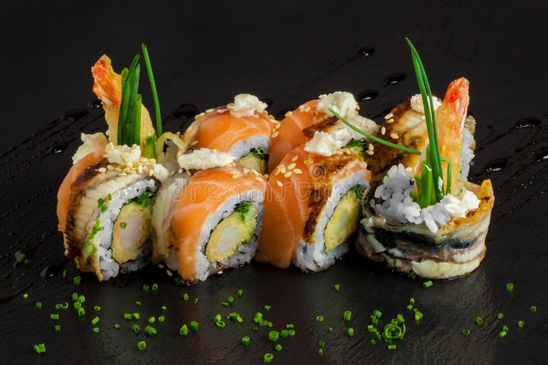 Salmon sushi maki royalty free stock images