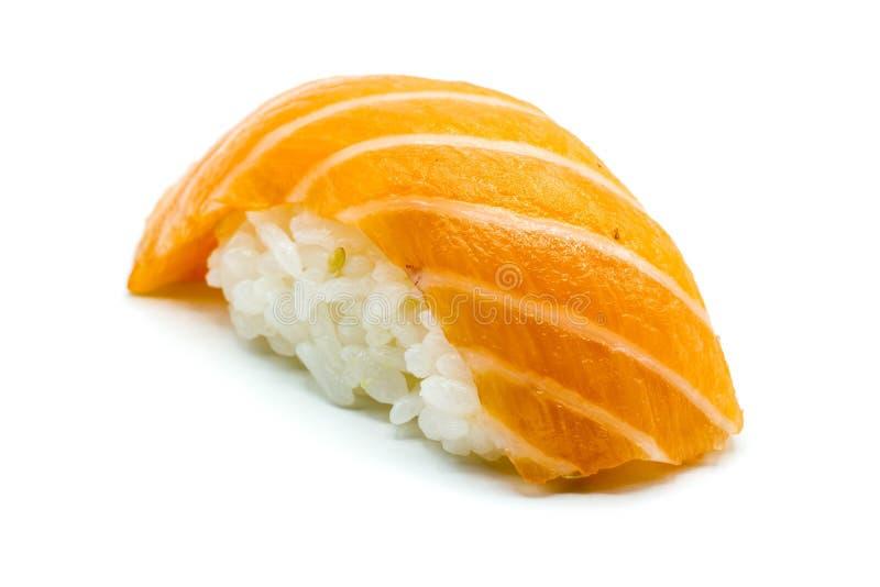Salmon sushi nigiri isolated on white background royalty free stock images