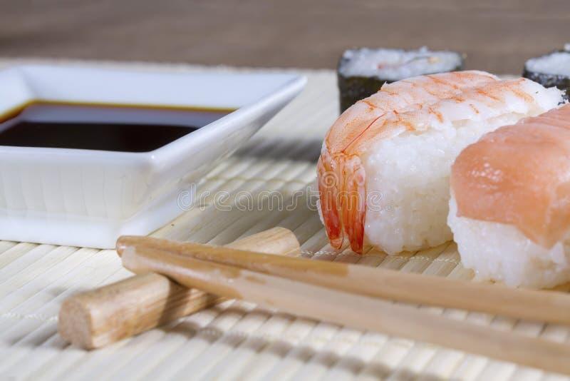 Salmon sushi nigiri stock photos