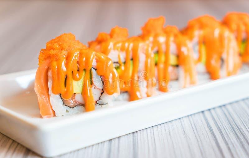 Salmon Sushi Roll fotografie stock libere da diritti