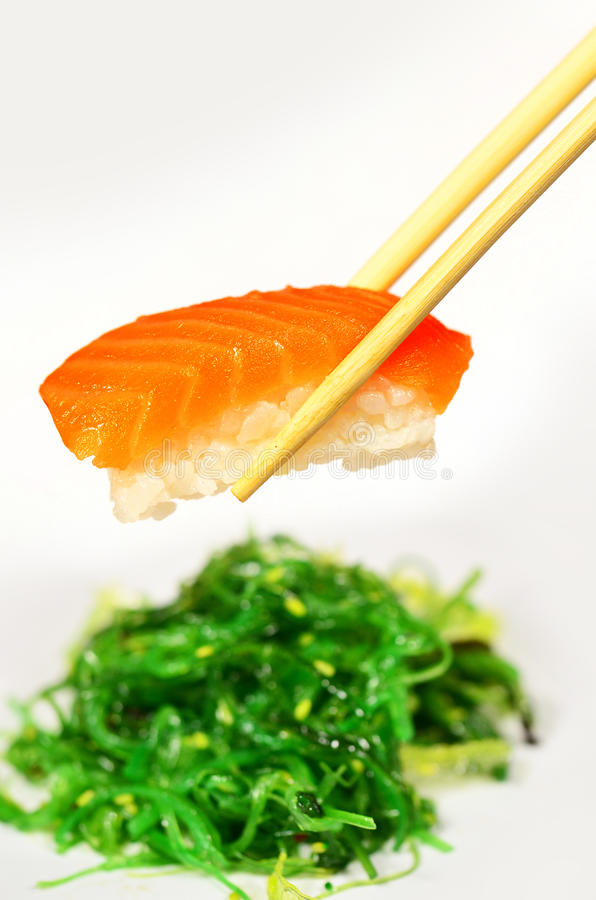 Download Salmon Sushi and Seaweed stock photo. Image of dining - 21604380