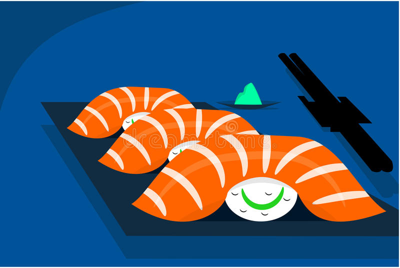 Salmon sushi. Sushi table with chopsticks picking up a salmon sushi vector vector illustration