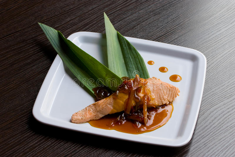 Salmon With Sweet-and-sour Sauce Royalty Free Stock Images