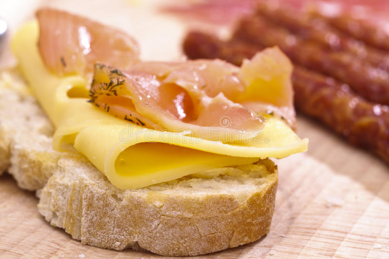 Download Salmon and Swiss Cheese stock photo. Image of bread, delicacy - 19167038