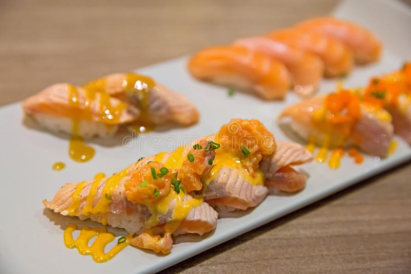 Salmon Tartar sushi stock photo
