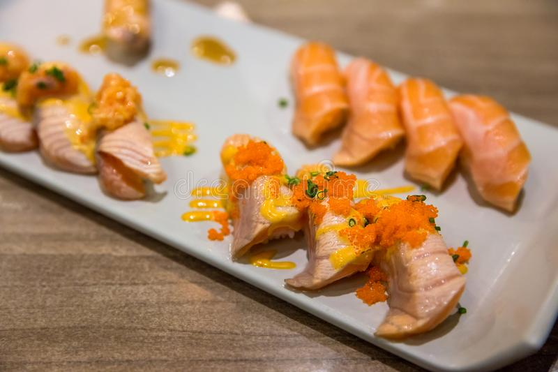 Salmon Tartar sushi royalty free stock photography