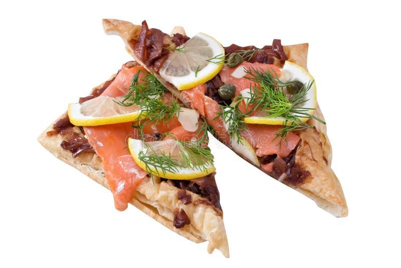 Salmon Tartine royaltyfria bilder