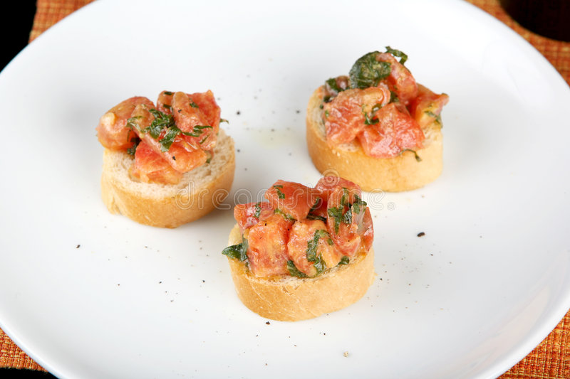 Salmon on a toast stock images