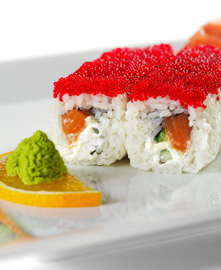 Salmon And Tobiko Maki Sushi Stock Photo
