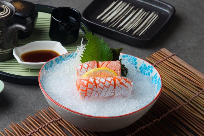 Salmon Toro, nourriture japonaise de sashimi de ventre de poissons photographie stock