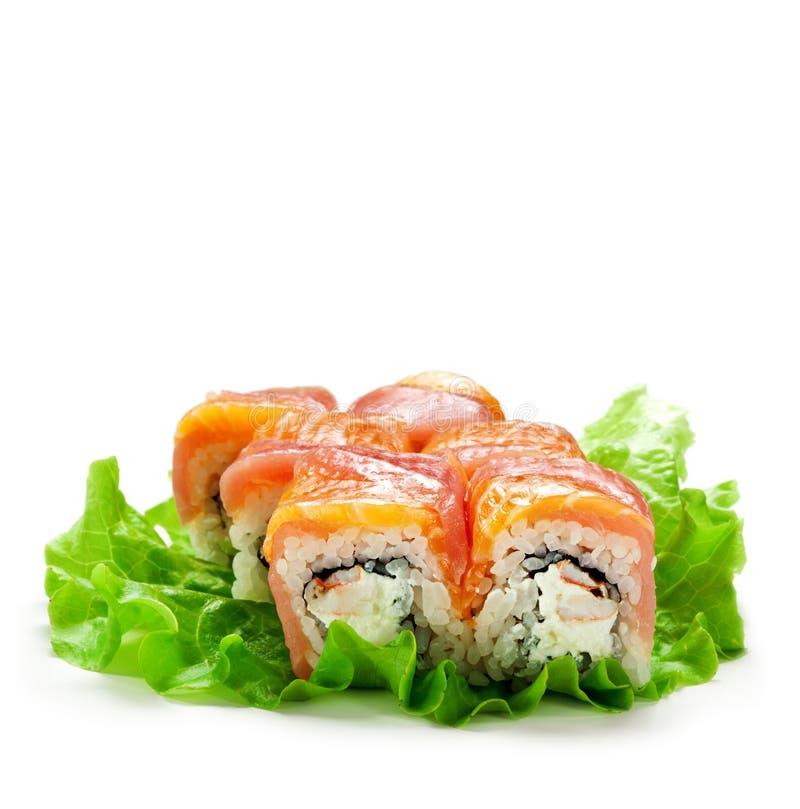 Salmon and Tuna Roll stock image