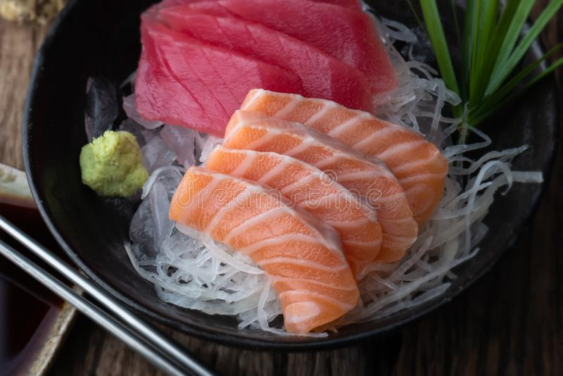 Salmon and tuna sashimi Japan style stock image
