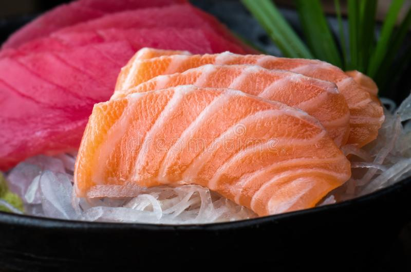 Salmon and tuna sashimi Japan style stock photo
