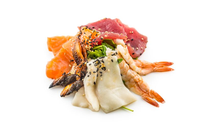 Salmon tuna smoked eel shrimp as asian sea fish salad. stock photography