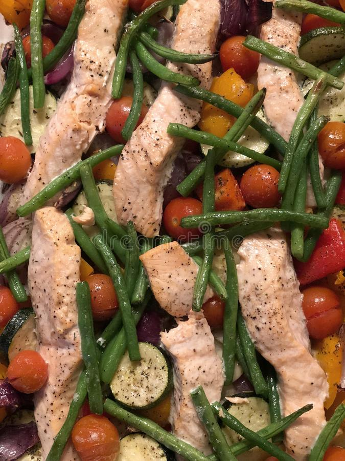Salmon and vegetable bake royalty free stock image