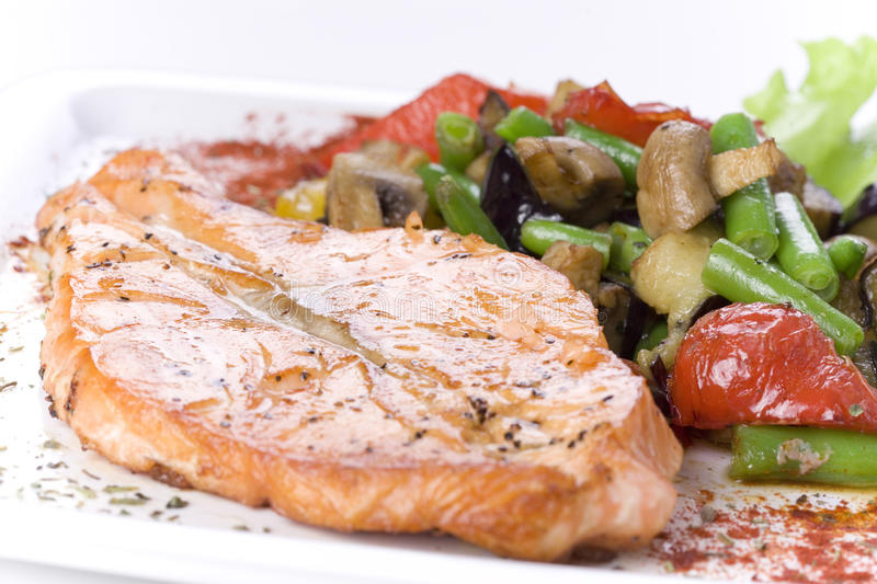 Download Salmon with vegetables stock photo. Image of delicatessen - 12971866