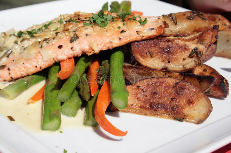 Salmon and vegetables royalty free stock photos