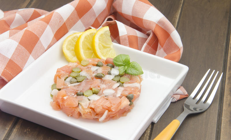 Salmone affumicato tartaro fotografia stock