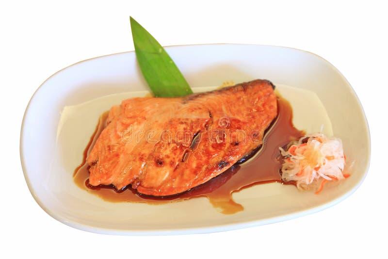 Salmone arrostito con la salsa di teriyaki fotografia stock